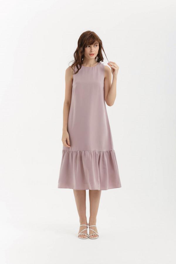 Shift Midi Ruffle Dress