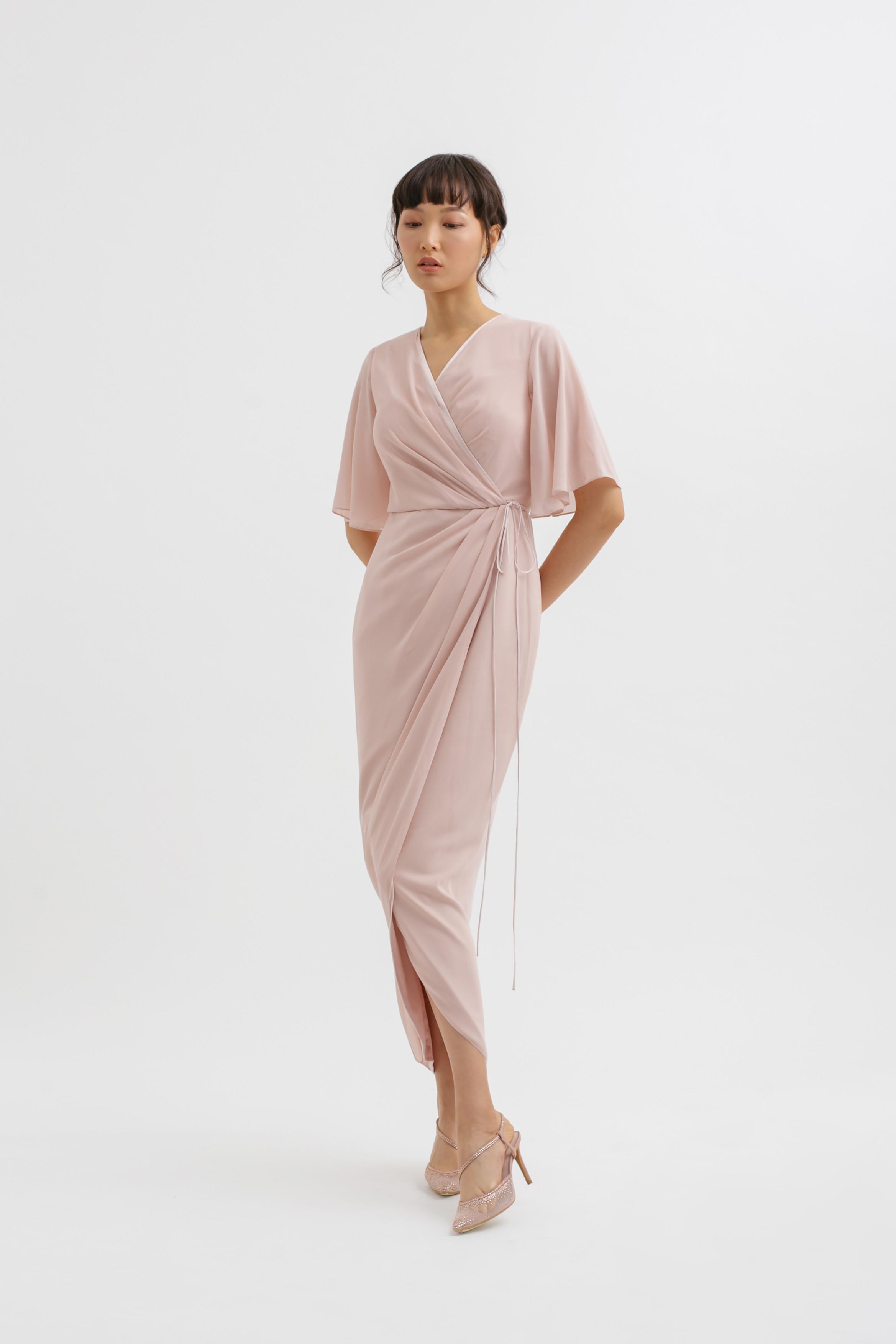 Drapery Sleeve Overlap Tulip Midi Dress