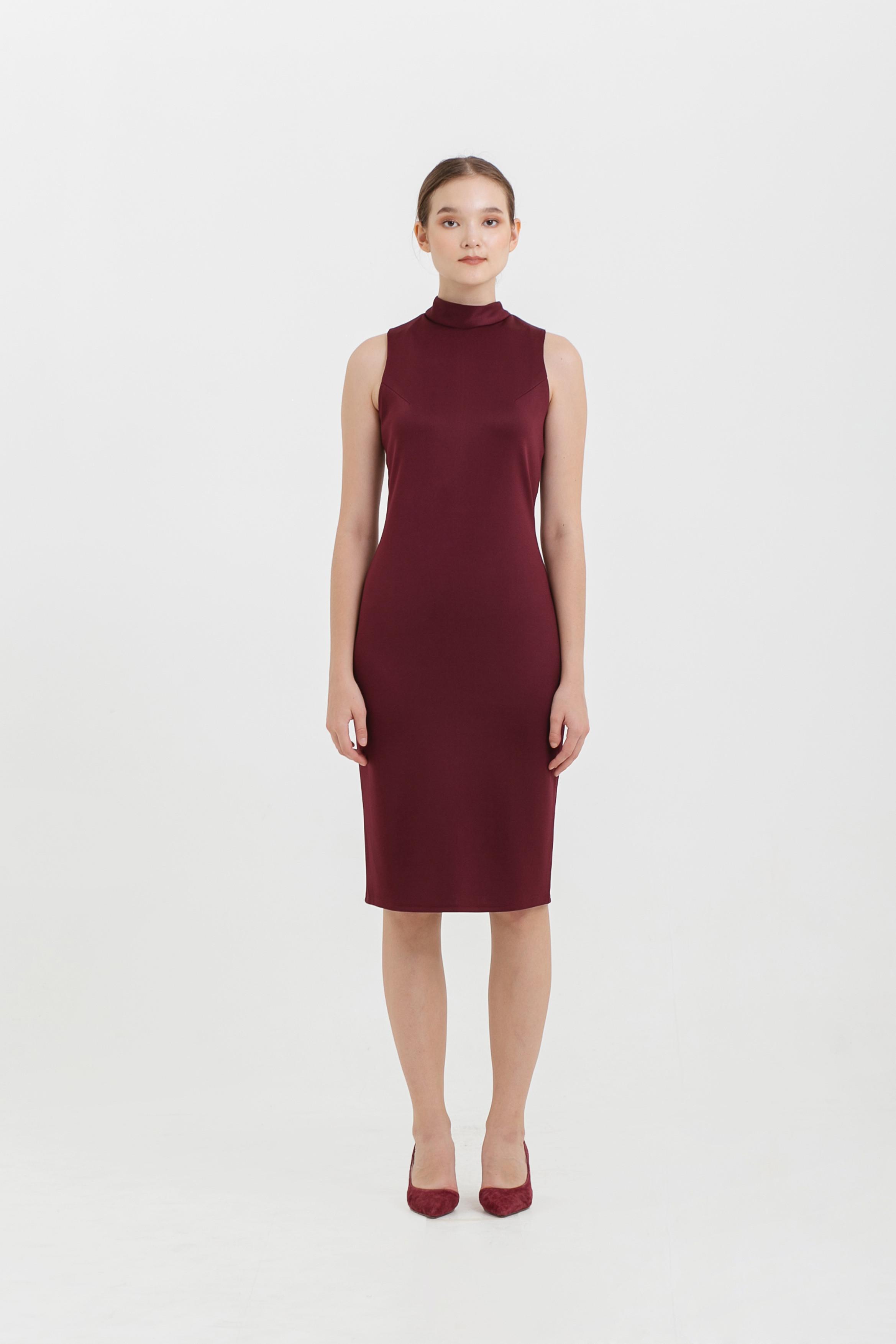 High Neck Sleeveless Scuba Dress