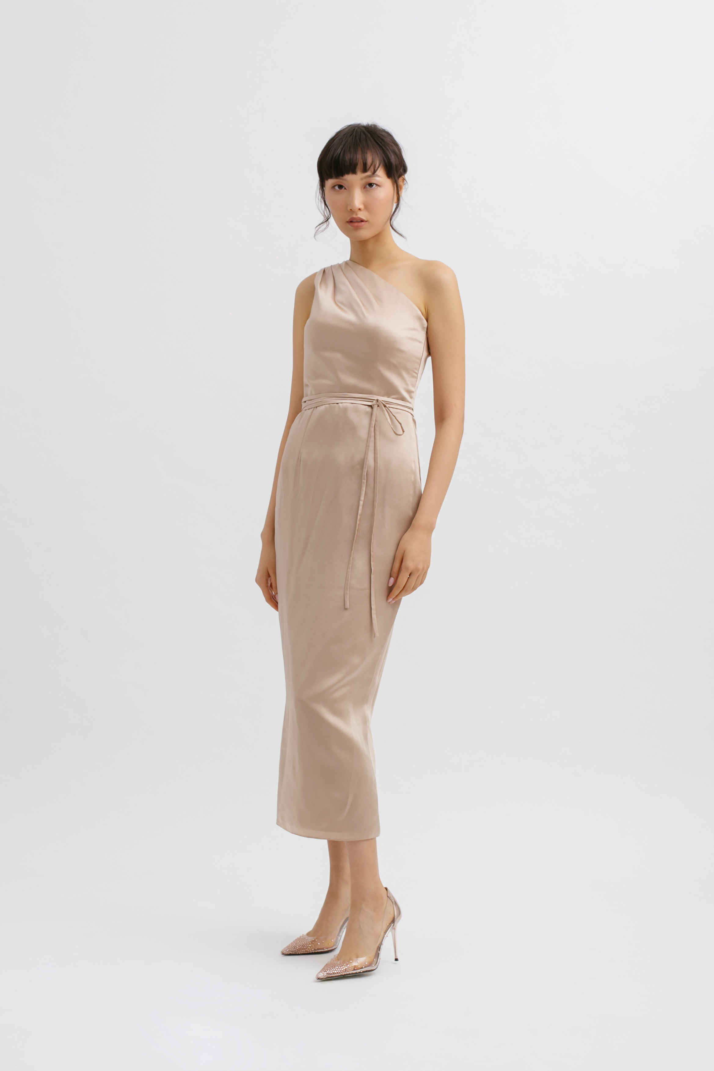 One Shoulder Tied Midi Dress