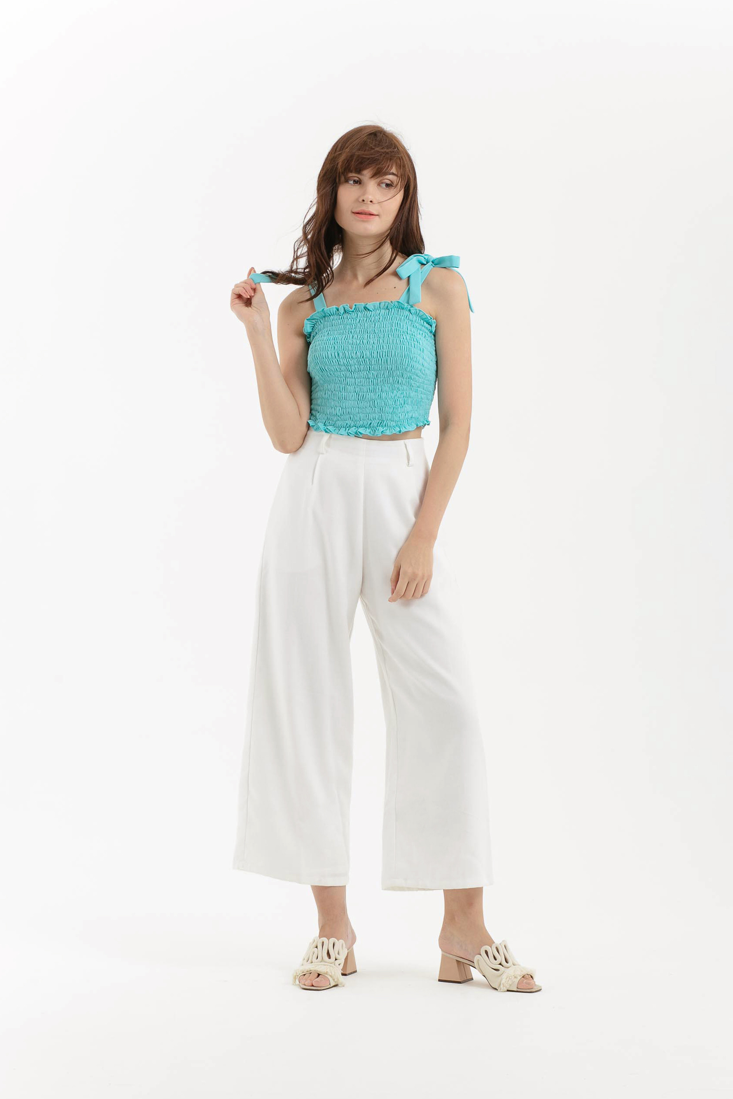 Smocked Tied Crop Top
