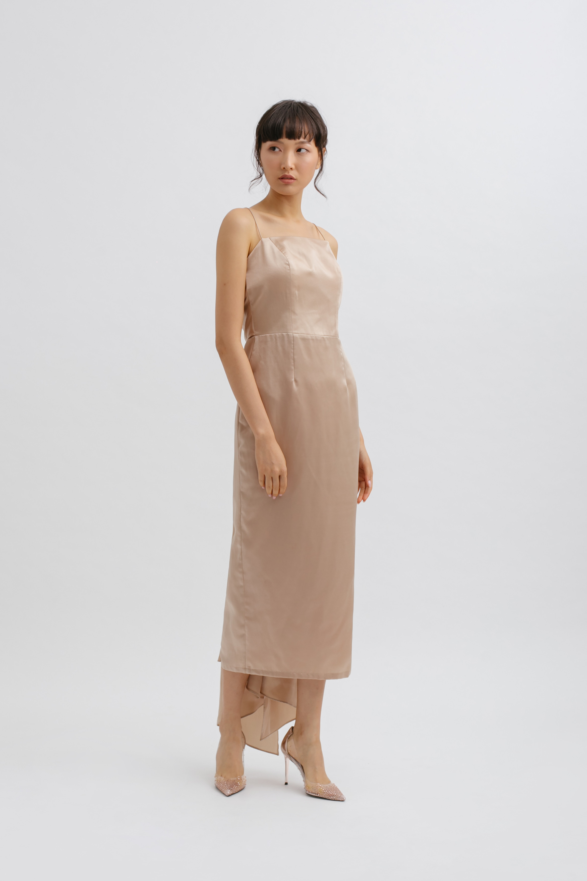 Square Neck Backless Tied Midi Dress