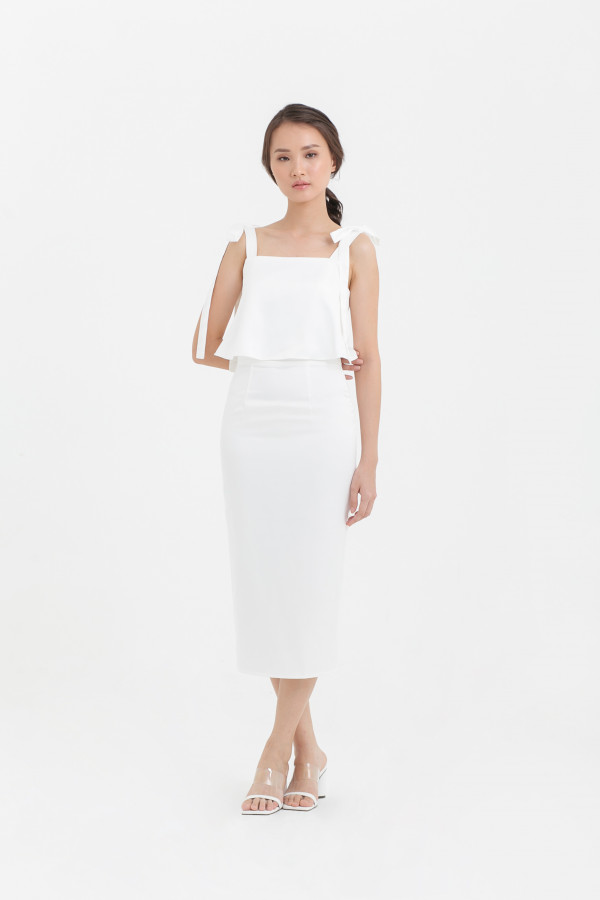 Bow Shoulder Midi Dress