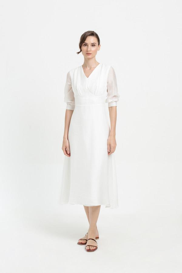 Crinkled Cotton Midi Dress