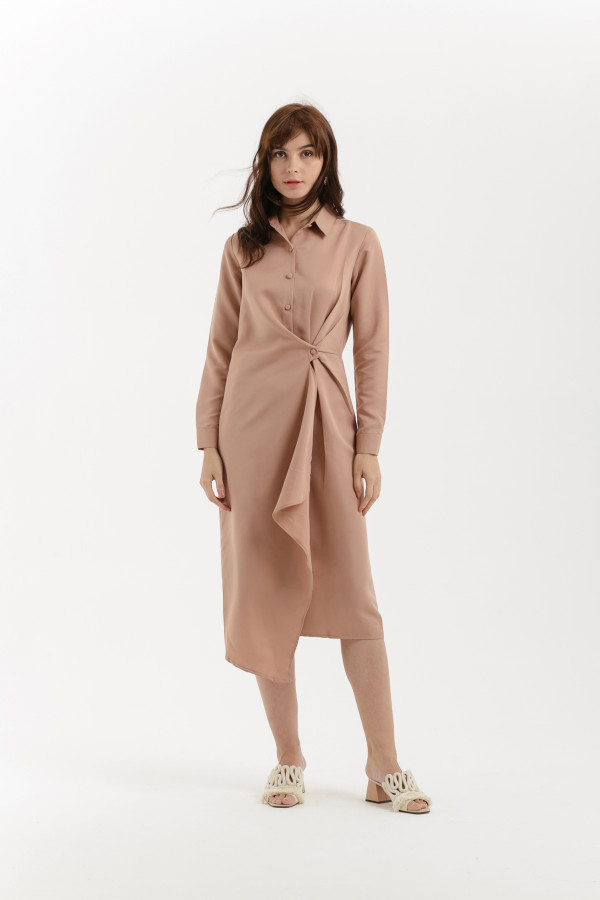 Long Sleeved Knot Shirt Dress