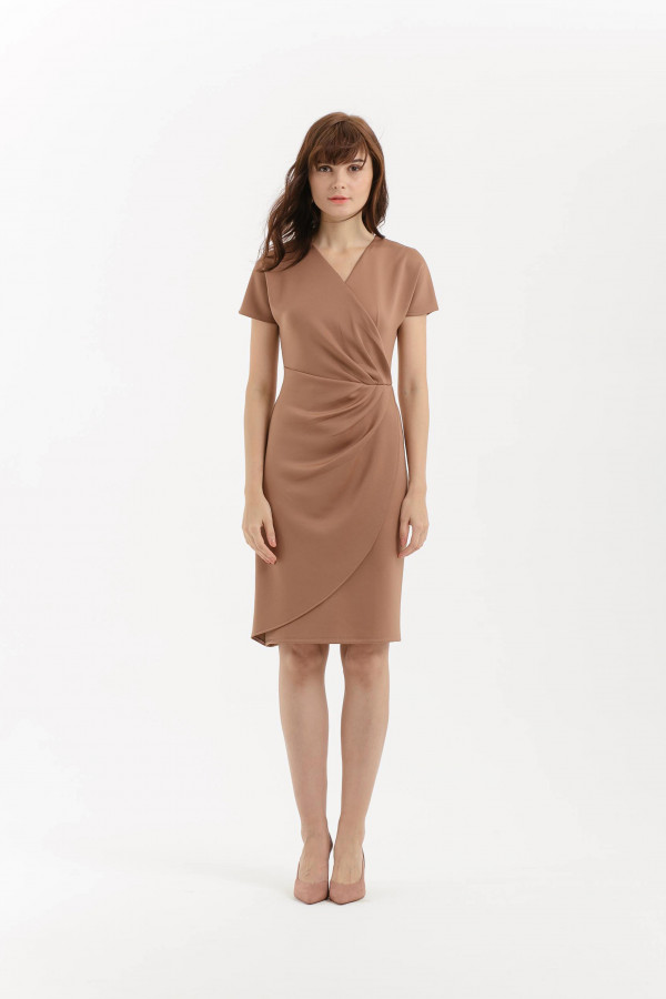 Pleated Overlap Scuba Dress