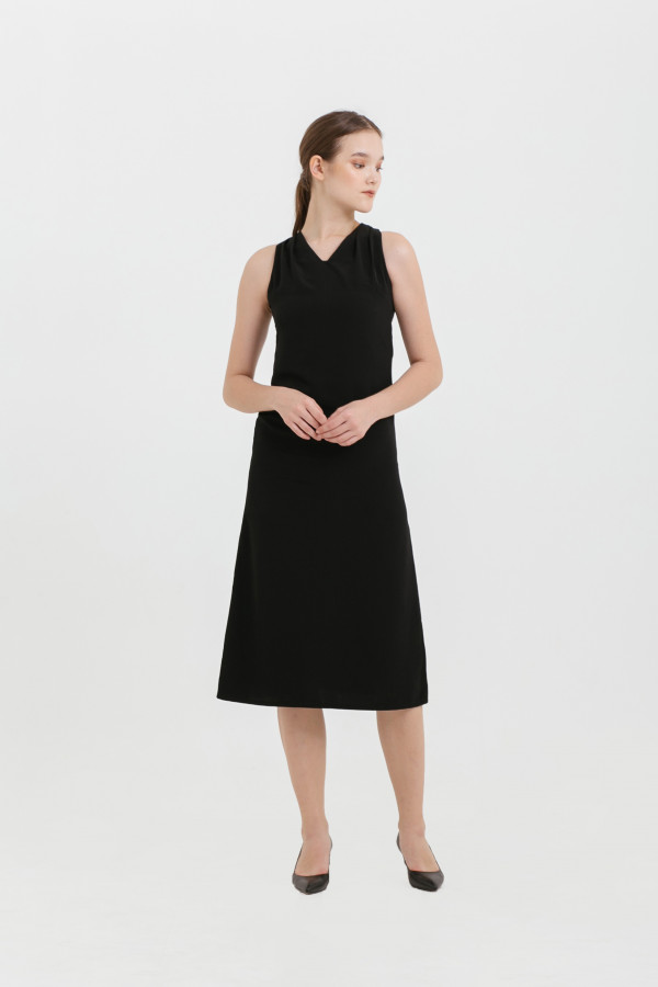 Pleated Shoulder Shift Dress