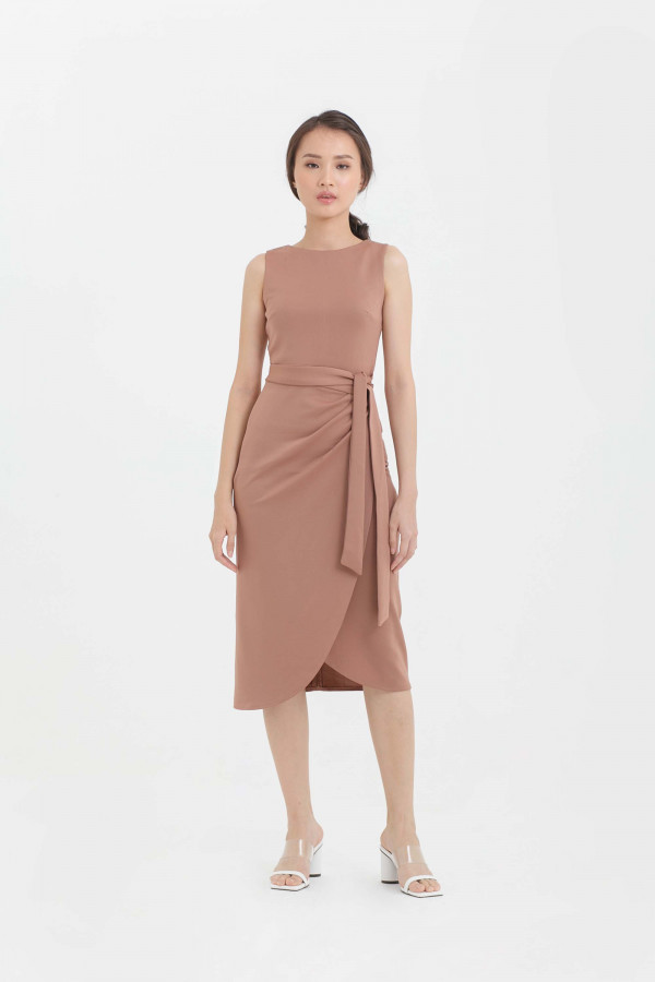 Scuba Sleeveless Overlap Tulip Midi Dress
