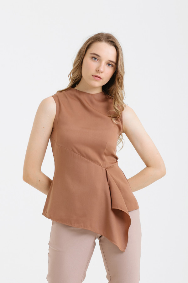 Sleeveless Drapery Top